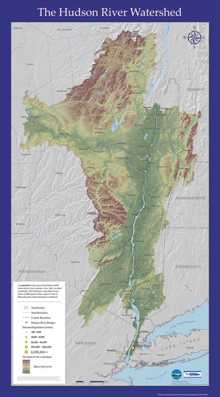 Hudson River watershed map enlarged