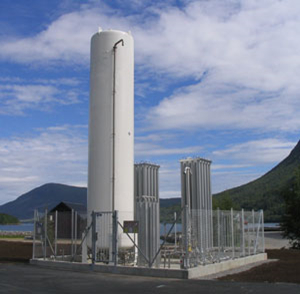 picture of LNG storage tank and evaporators