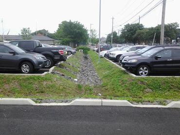 image of a bioretention area between parking areas
