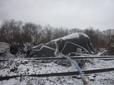 An oil train derailment in Ripley