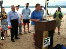 Estuary Program Coordinator Fran Dunwell speaks at the announcement event at Kingston Point Beach. Photo credit: Robert Goldwitz