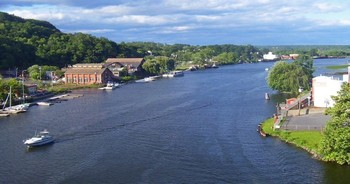 view of the Rondout Creek in Summer flowing towards the mainstem Hudson.