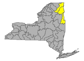 Map of NYS identifying the Lake Champlain Watershed