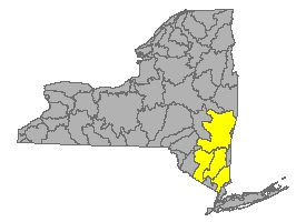 Map of NYS identifying the Lower Hudson River Watershed