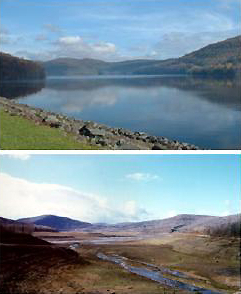 Two photographs of the Cannonsville Reservoir. Upper photo shows reservoir at full capacity. Lower photo shows reservoir in December 2001 when it was at 6.5% of full capacity.