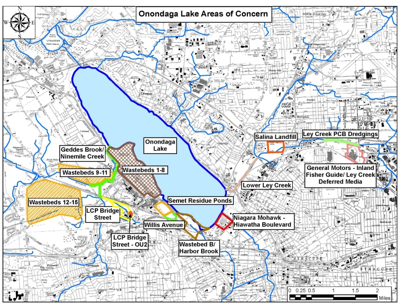 Map of polluted sites around Onondaga Lake, including the lake bottom, onshore sites and sites along the lake's tributaries.