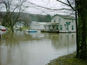 Image of flood waters in Oxford, NY