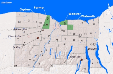 Map of green infrastructure project participants in the Genesee-Finger Lakes region