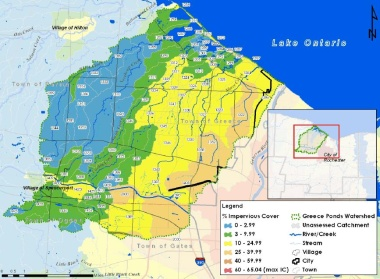 map showing percent impervious cover in Greece Ponds watersheds near Lake Ontario