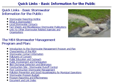 Snap shot from a Digital Towpath Stormwater Module web page