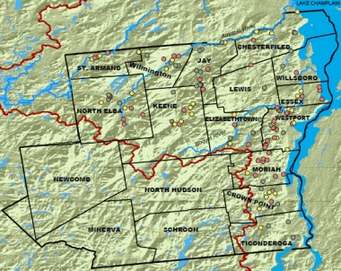 Essex County map of roadside erosion sites