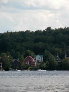 An image of houses on the shore of a lake.