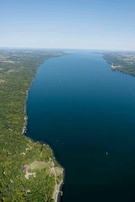 Aerial view of Cayuga Lake