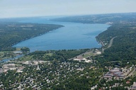 Aerial view of the south end of Cayuga Lake and Ithaca