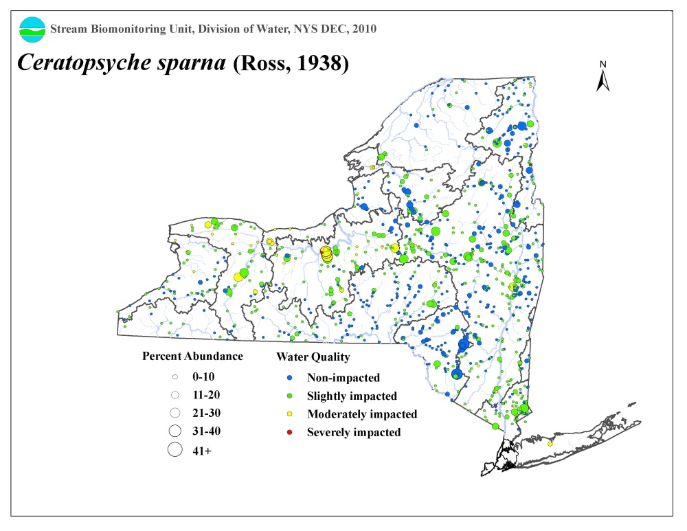 Distribution map of the ceratopsyche sparna caddisfly in NYS