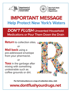 Don't flush unwanted household medications poster