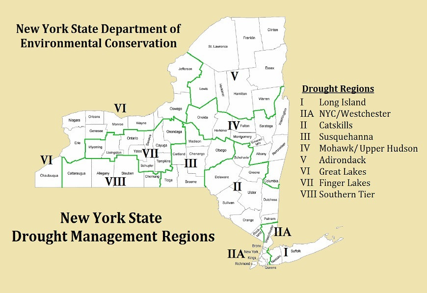 New York State Drought Management Regions And Map Of Conditions - New york state map