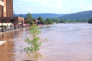 Flooding in downtown Binghamton, NY - Chemung River. 2006