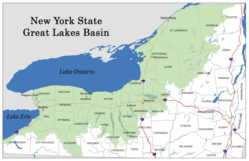 Map of the Great Lakes basin in New York