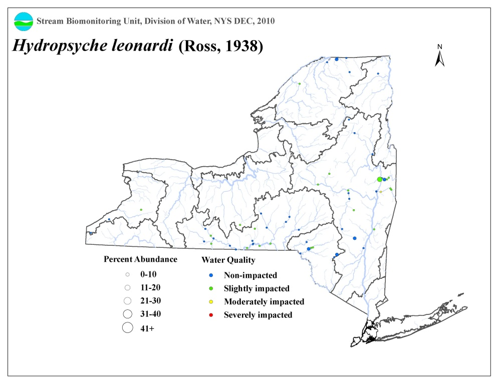Distrbution map of the Hydropsyche leonardi caddisfly in NYS