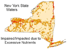 map of NY State waters impaired or impacted by excessive nutrients