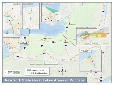 Map of New York's Great Lakes Areas of Concern