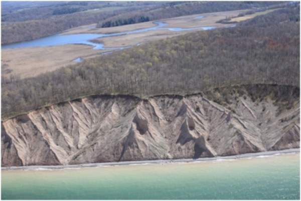 Image of oblique imagery of Chimney Bluffs State Park in Huron, NY.
