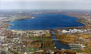Aerial view of Onondaga Lake looking north. The Inner Harbor is in the foreground.
