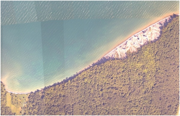 Image of orthoimagery of Chimney Bluffs State Park in Huron, NY.