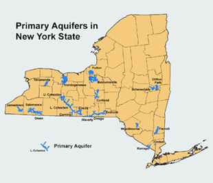 Map of New York with primary aquifers marked in blue against tan background