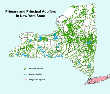 Map showing Primary and Principal Aquifers in New York State