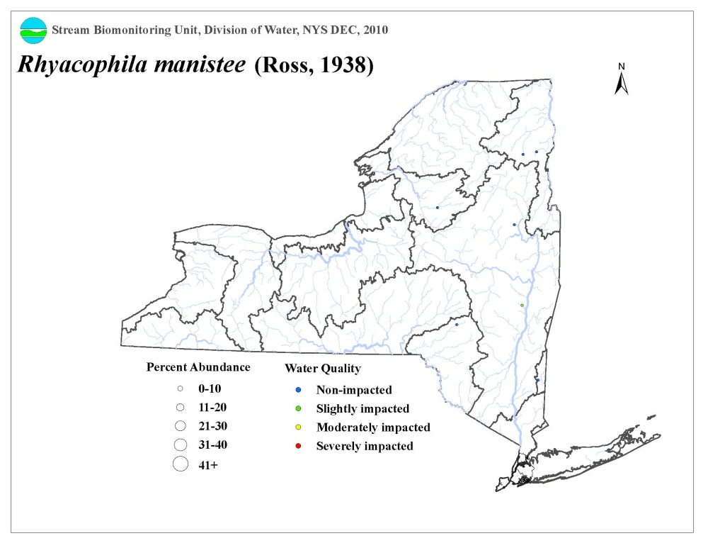 Distribution map of the Rhyacophila manistee caddisfly in NYS