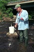 Water sample being collected