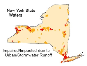 Map showing New York State Waters Impaired/Impacted due to Urban/Stormwater Runoff.