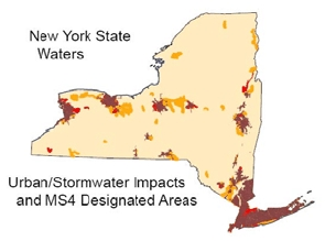 Map showing Urban/Stormwater Impacts and MS4 Designated Areas in New York State Waters.