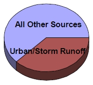 Pie chart showing stormwater is a major source in more than 1/3 of waterbodies assessed as impaired in New York State.