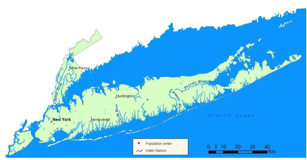 Detailed map of the Atlantic/Long Island Sound Watershed