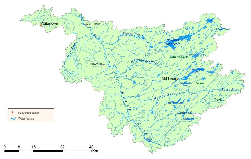 Detailed map of the NYS Black River Watershed