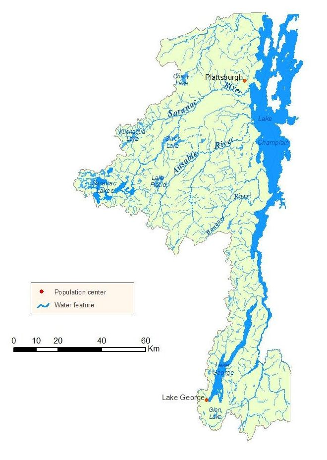 Detailed map of the Lake Champlain Watershed