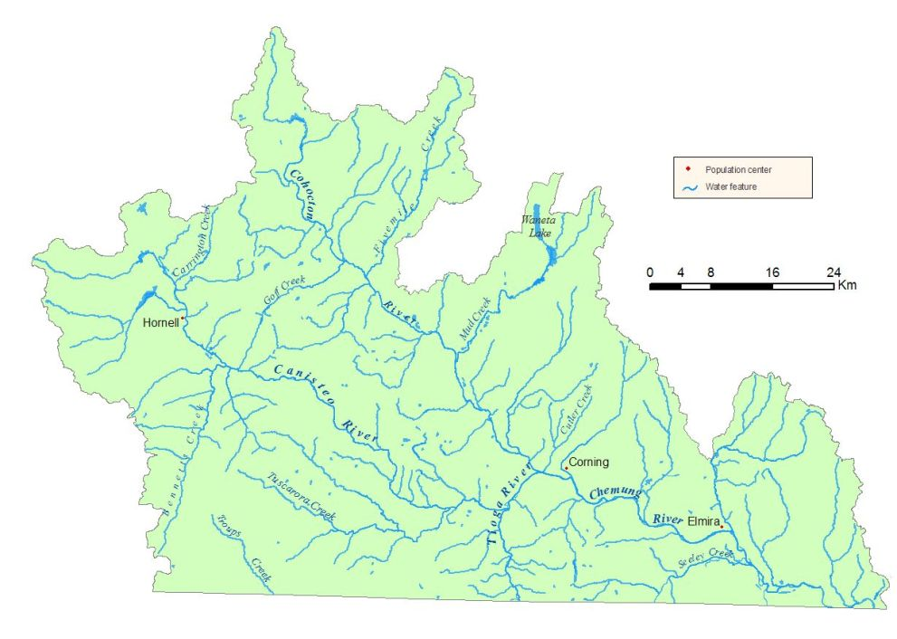 Detailed map of the Chemung River Watershed