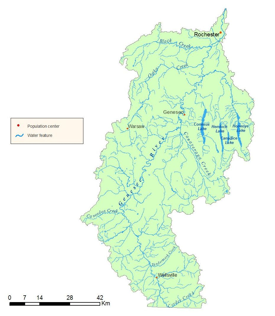 Detailed map of the Genesee River Watershed