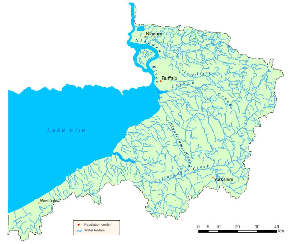 Detailed map of the Niagara River/Lake Erie Watershed