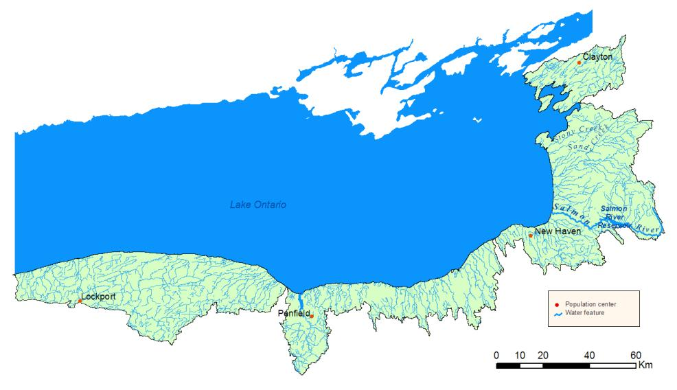 Detailed map of the Lake Ontario Watershed