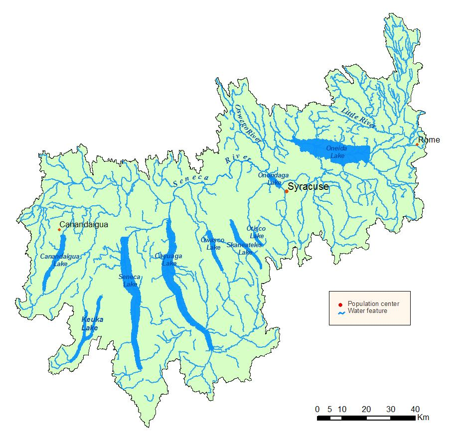Detailed map of the Oswego River/Finger Lakes Watershed