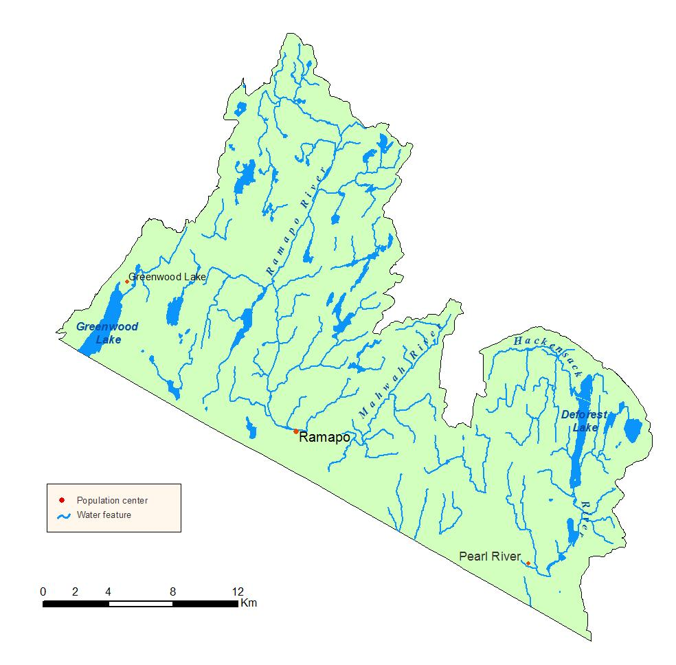 Detailed map of the Ramapo River Watershed in NYS