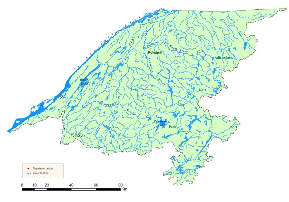 Detailed map of the St. Lawrence River Watershed