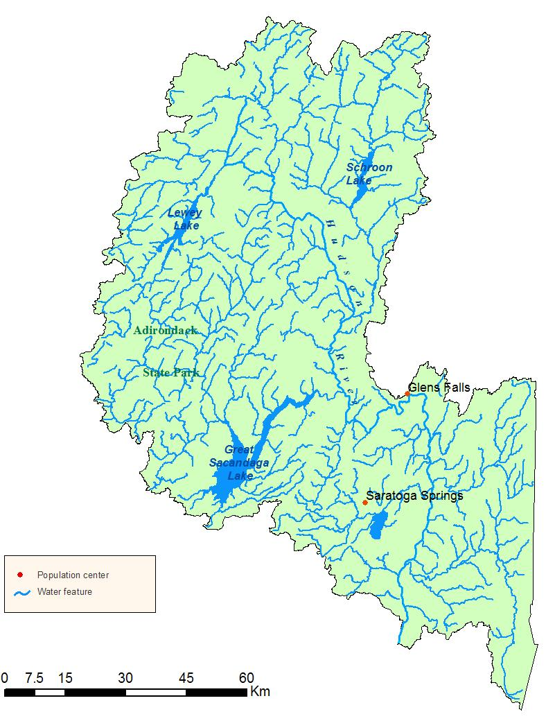 Detailed map of the Upper Hudson River Watershed