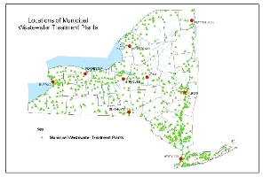 small map of NYS wastewater treatment plants locations