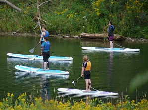 women learning to paddleboard on river