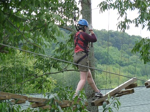 woman on a high ropes course